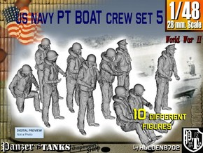1-48 US Navy PT Boat Crew Set5 in Frosted Ultra Detail