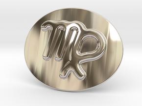 Virgo Belt Buckle in Rhodium Plated Brass