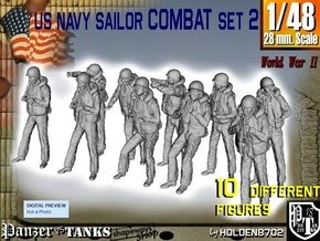 1-48 US Navy Sailors Combat SET 2 in Smooth Fine Detail Plastic