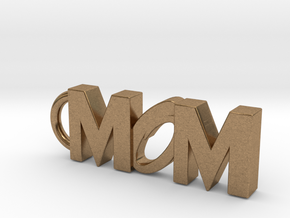 Mom Keychain Tag in Natural Brass