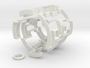 Cylindric Maze  in White Natural Versatile Plastic