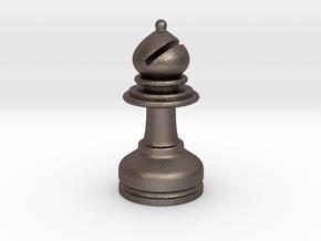 MILOSAURUS Chess MINI Staunton Bishop in Polished Bronzed Silver Steel