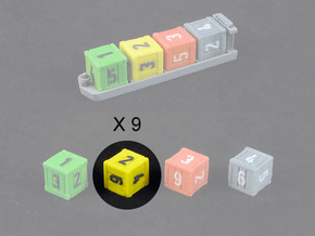 Dice / Crates - Full colour - Yellow (9pcs) in Full Color Sandstone