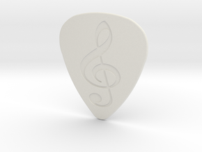 Treble Clef Plectrum - 1mm in White Natural Versatile Plastic