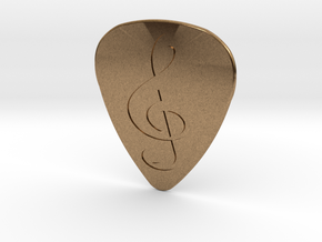 Treble Clef Plectrum - 1mm in Natural Brass