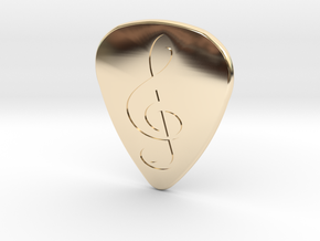 Treble Clef Plectrum - 2mm in 14k Gold Plated Brass