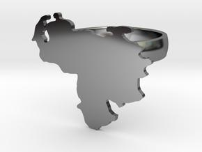 Venezuela Map Ring size 8 in Premium Silver