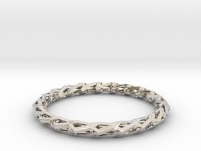 H Bracelet, Medium Size, d=65mm in Rhodium Plated Brass: Medium