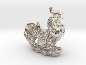 GARDEN ROOSTER in Rhodium Plated Brass