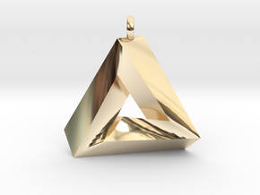 Penrose Triangle - Pendant (3cm | 2.5mm O-Ring) in 14k Gold Plated Brass