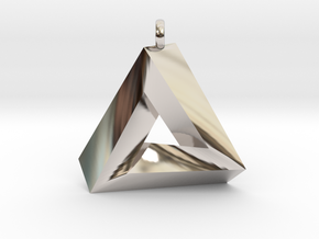 Penrose Triangle - Pendant (3cm | 2.5mm O-Ring) in Rhodium Plated Brass