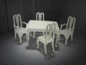 1:48 Queen Anne Dining Set in Smooth Fine Detail Plastic