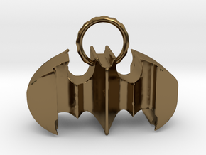 Batman keychain (or necklace ) in Polished Bronze
