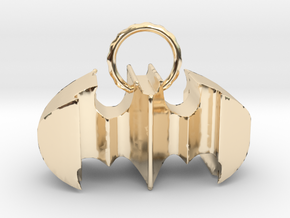 Batman keychain (or necklace ) in 14k Gold Plated Brass