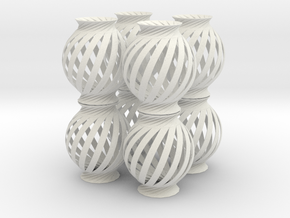 Lamp Ball Twist Spiral 8 Small Scale in White Natural Versatile Plastic