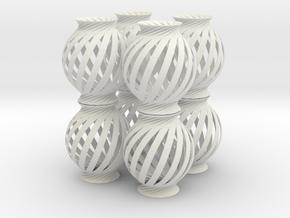 Lamp Ball Twist Spiral 8 Small Scale in White Natural Versatile Plastic
