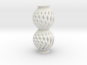 Lamp Ball Twist Spiral Column Small Scale in White Natural Versatile Plastic