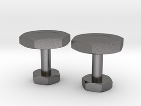 Bolt Nut Cufflinks in Polished Nickel Steel
