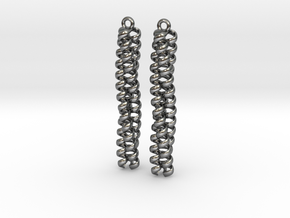 Trimeric coiled coil earrings in Polished Silver