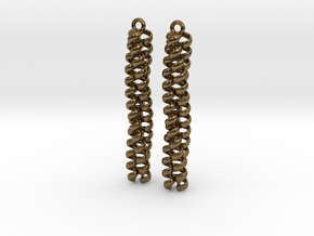 Trimeric coiled coil earrings in Polished Bronze