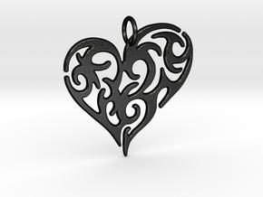 Tribal Heart Pendant in Matte Black Steel