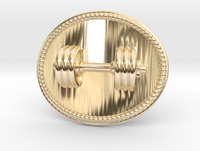 Dumbbell Belt Buckle in 14K Yellow Gold