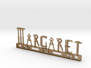 Margaret Nametag in Matte Gold Steel