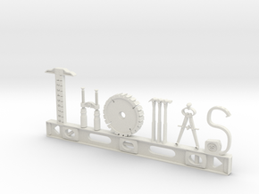 Thomas Nametag in White Natural Versatile Plastic