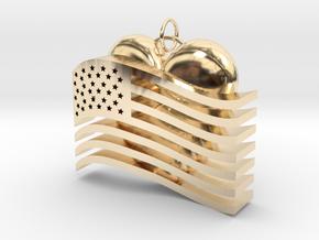 Heart Flag Pendant in 14k Gold Plated Brass