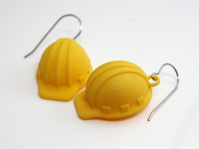 Hard Hat Earrings in Yellow Strong & Flexible Polished
