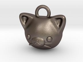 CUTEY KITTY PENDANT in Polished Bronzed Silver Steel