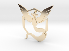 Pokemon Go, Team Mystic Pendant  in 14k Gold Plated Brass