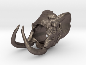 Elephant Size 6 in Polished Bronzed Silver Steel