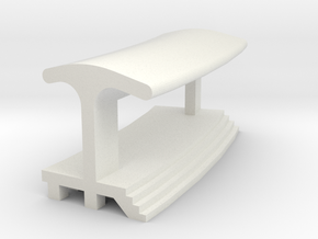 Curved Outside Platform - With Shelter in White Natural Versatile Plastic