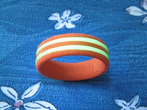 US10 O-Ring Ring: Glow (Plastic/Silver) in Orange Strong & Flexible Polished