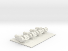 1/144 Scale Boat Winches (4) in White Strong & Flexible