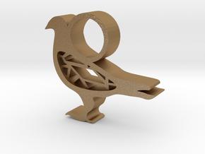 Pigeon Pendant  in Matte Gold Steel