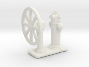 1/144 Scale Ships Wheel in White Natural Versatile Plastic