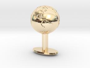 Earth Cufflink in 14k Gold Plated Brass