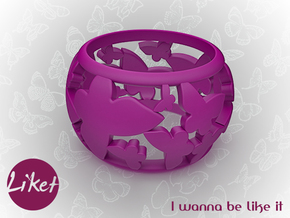 Butterfly orbit ring size 5 in Purple Processed Versatile Plastic