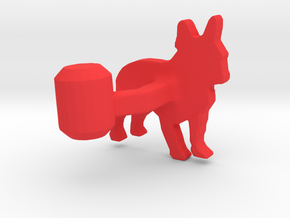 French Bulldog Cufflink in Red Processed Versatile Plastic