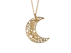 Moon Pendant in Polished Brass