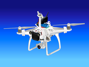 Flying megaphone with searchlight for Phantom 4 in White Natural Versatile Plastic