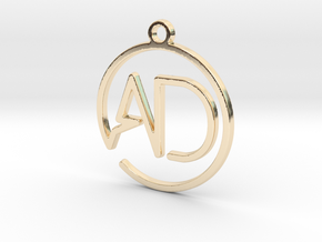 A & D monogram  Keychain in 14k Gold Plated Brass