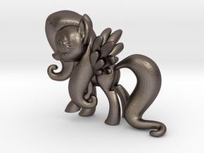 Fluttershy 1B Full Color - S2 in Polished Bronzed Silver Steel