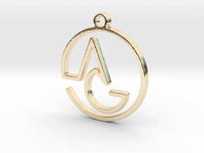 A & G Monogram Pendant in 14k Gold Plated Brass