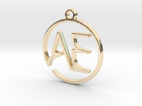A & E Monogram Pendant in 14k Gold Plated Brass
