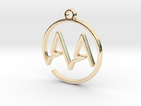 A & A Monogram Pendant in 14k Gold Plated Brass