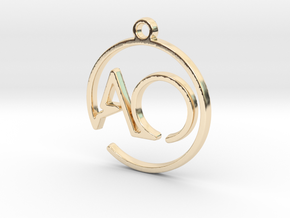 A & O Monogram Pendant in 14k Gold Plated Brass