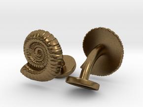 Ammonite Cufflinks in Natural Bronze